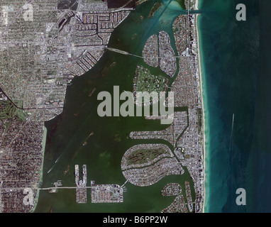 aerial map view above Miami Biscayne bay intercoastal waterway and Miami beach shoreline Florida - Stock Photo