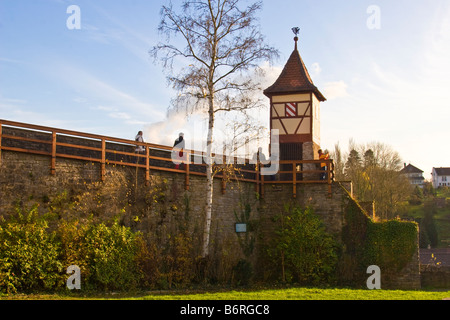 Bad Wimpfen defensive town walls 13th century close to the Red Tower - Stock Photo