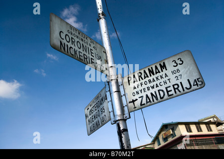Suriname, Paramaribo, roadsigns in Dutch language in city center. - Stock Photo
