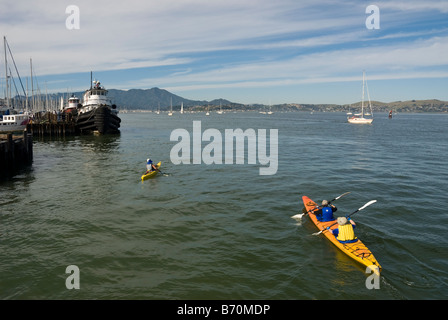Sausalito, California. kayaking in san Francisco Bay near Sausalito - Stock Photo