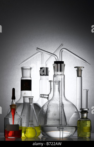 laboratory glass - test tubes and beakers - Stock Photo