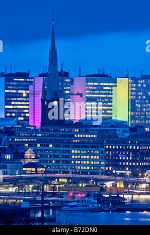 SWEDEN STOCKHOLM STOCKHOLM CITY OFFICE HIGHRISES IN BACKGROUND - Stock Photo