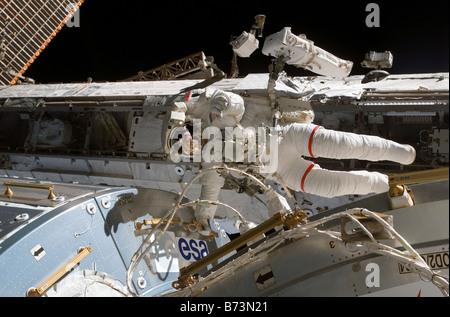 Astronaut Rex Walheim at the International Space Station on Feb. 15, 2008 - Stock Photo