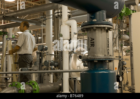 Air compressors in water treatment plant - Stock Photo