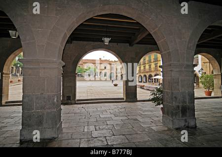 Arcades, Placa Mayor, Poble Espanyol, Spanish village, open air museum, Montjuic, Barcelona, Catalonia, Spain, Europe - Stock Photo