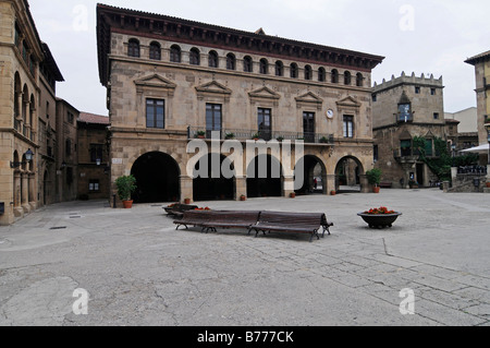 Placa Mayor, Poble Espanyol, Spanish village, open air museum, Montjuic, Barcelona, Catalonia, Spain, Europe - Stock Photo