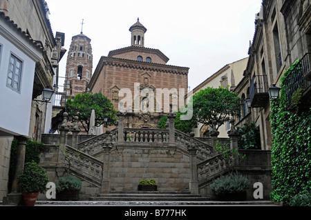 Stairs and church, Poble Espanyol, Spanish village, open-air museum, Montjuic, Barcelona, Catalonia, Spain, Europe - Stock Photo