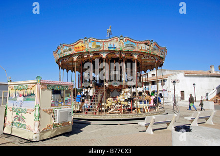 Carrousel, Les Saintes-Maries-de-la-Mer, Camargue, Bouches-du-Rhone, Provence-Alpes-Cote d'Azur, Southern France, - Stock Photo