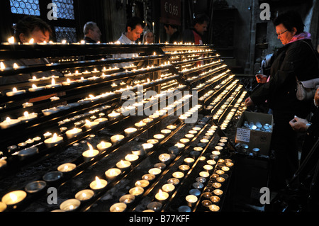 Offering candles in St. Stephen's Cathedral, Stephansdom, Vienna, Austria, Europe - Stock Photo