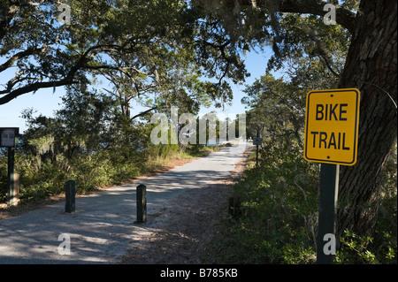 Bike and Walking Trail near Driftwood Beach and Clam Creek Picnic Area, Jekyll Island, Georgia, USA - Stock Photo