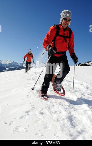Snowshoe hikers, Zweisimmen, Rueblihorn, Gummfluh, Saanenland, Gstaad, West Alps, Bernese upper country, Switzerland, - Stock Photo