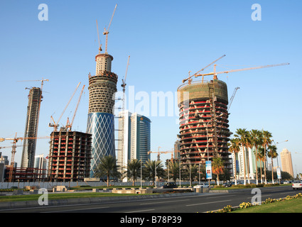 Building work underway in the high-rise new district of Doha,Qatar,late February 2008. - Stock Photo