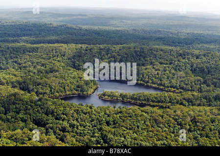 Aerial picture of a rainforest and a lake on Fraser Island, Queensland, Australia - Stock Photo