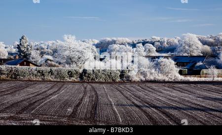 Scotland in winter detail of frosty fields Kelso - Stock Photo
