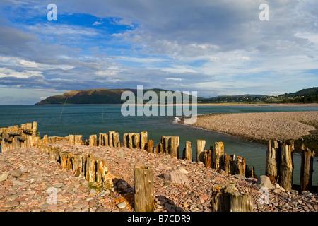 Groynes on the beach at Porlock Weir near Minehead in Exmoor National Park North Somerset England UK - Stock Photo