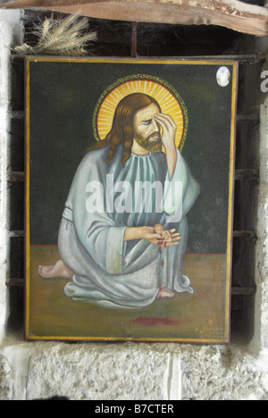 Icon of Jesus Christ in Greek Orthodox Monastery of St. Gerasim in Jericho crying over abortions - Stock Photo