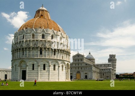 Piazza dei Miracoli Square of Miracles Baptistery Pisa - Stock Photo