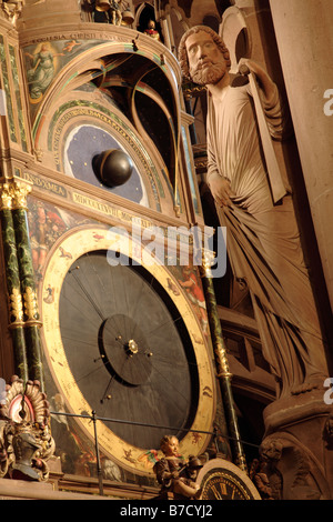 ASTRONOMICAL CLOCK OF NOTRE DAME CATHEDRAL STRASBOURG - Stock Photo