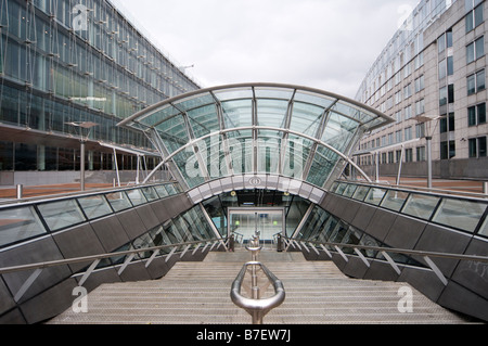 Entrance to the main railway station serving the European Parliament building in the centre of Brussels Belgium - Stock Photo