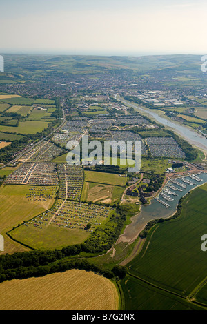 The Isle of Wight festival 2006 from the air - Stock Photo