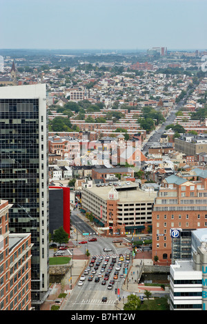 Looking east Pratt St in foreground from the 27th floor World Trade Center Inner Harbor Baltimore Maryland - Stock Photo