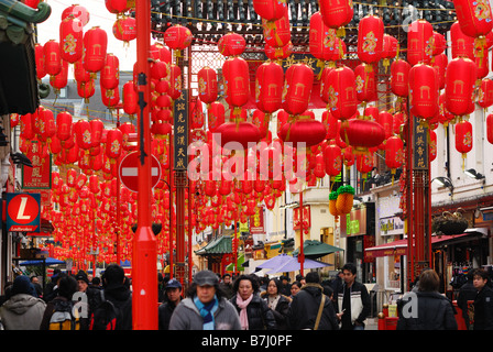 Red chinese lanterns in Chinatown London - Stock Photo