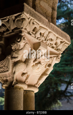 Detail of a capital in the cloister of the Saint Pierre Abbey in Moissac showing the story of St Martin of Tours, - Stock Photo