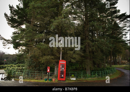 A traditional British red telephone box and a Royal Mail post box in the Scottish countryside. - Stock Photo