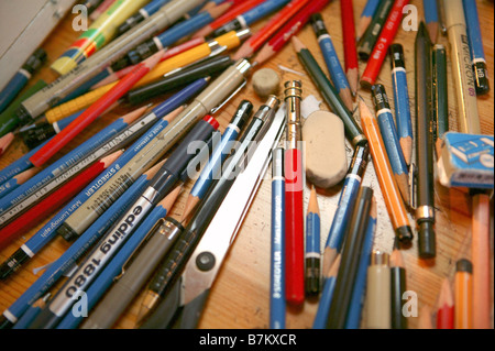 Lot of pens on the table - Stock Photo