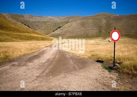 Restricted area in Castelluccio, Italy - Stock Photo