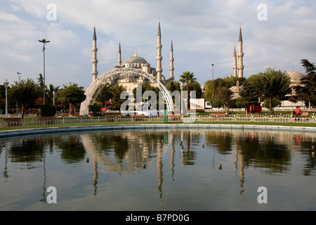 Sultan Ahmed Mosque, aka Blue mosque, in the wintertime, Istanbul, Turkey - Stock Photo