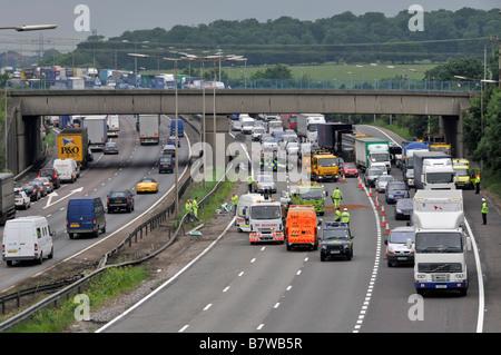 M25 motorway road traffic accident causing long tail backs - Stock Photo
