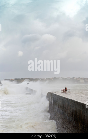 24 january 2009 KLaus storm breaking waves on Socoa dyke Pays Basque France - Stock Photo