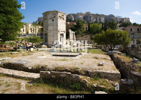 Greece Athens ancient Roman Agora Horologion of Andronicos Tower of the Winds Archaeology Mediterranean - Stock Photo