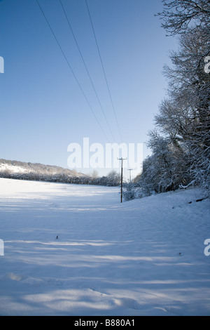 Telegraph poles within a snow covered landscape scene on a bright February morning at the base of Box Hill in Surrey - Stock Photo