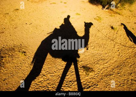 Tourist rides camel in desert Khuri Rajasthan India - Stock Photo
