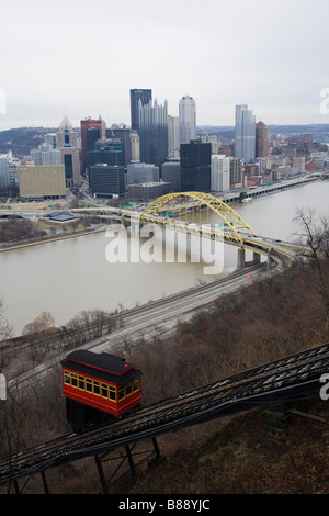 Duquesne Incline cable car Pittsburgh - Stock Photo