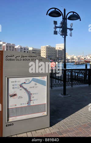 Sign for Dubai Old Souk waterbus taxi station beside the Dubai Creek - Stock Photo