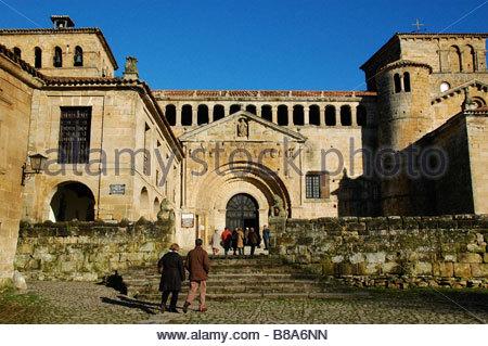 The collegiate church of Santa Juliana in the little town of Santillana del Mar in Cantabria, Northern Spain - Stock Photo