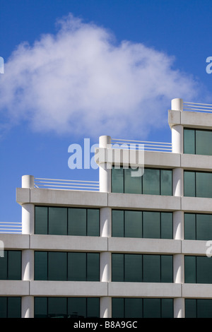 Architectural detail of modern office building with windows and rooftop terraces in a stairstep pattern - Silicon - Stock Photo