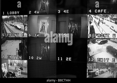 Security camera surveillance monitor. - Stock Photo