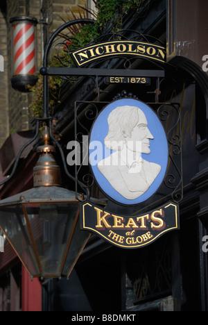 Keats bar at the Globe pub in Moorgate London England - Stock Photo