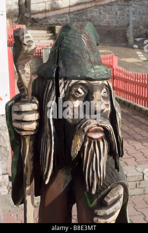 Mountain Dwarf wooden statue in Szklarska Poreba, Karkonosze, Poland - Stock Photo