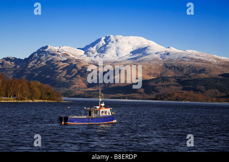 Loch Lomond and a snow capped Ben Lomond on a winters day Scotland - Stock Photo