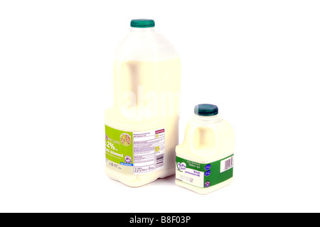 One Pint and Four pints of semi skimmed milk in plastic containers showing the nutrient values on the label - Stock Photo
