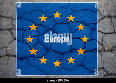 symbolic representation of the credit crisis symbolische Darstellung der Bankenkrise - Stock Photo