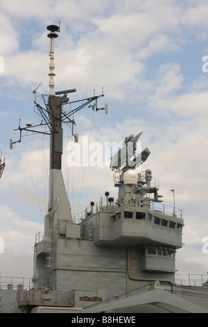 Radar and navigation systems on HMS Ark Royal - Stock Photo