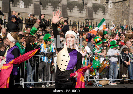Participants, spectators and characters and parade onlookers in the St Patricks Day parade, Dublin, Ireland - Stock Photo