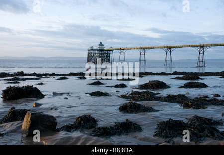 The Victorian Pier at Clevedon in Somerset the only fully intact Grade 1 listed pier in the country - Stock Photo