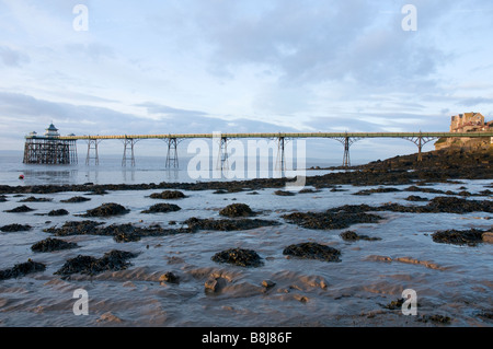 The Victorian Pier at Clevedon in Somerset the only fully intact Grade 1 listed pier in the country. - Stock Photo